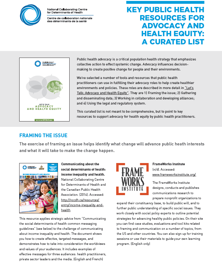 Key public health resources for advocacy and health equity: A curated list