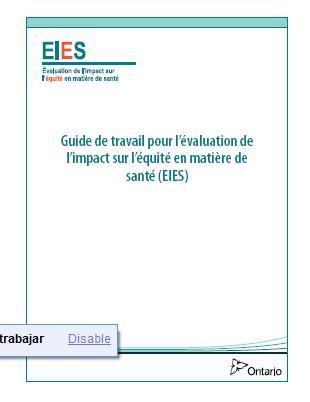 Outil d'évaluation de l'impact sur l'équité en matière de santé (EIES)