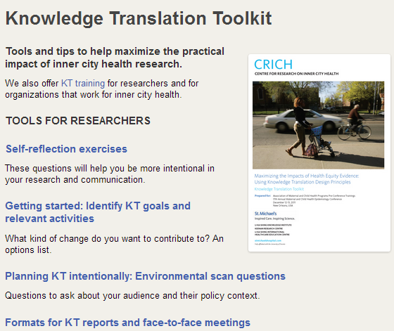 CRICH knowledge translation toolkit