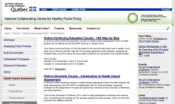 Introduction to health impact assessment (HIA) of public policies – online course
