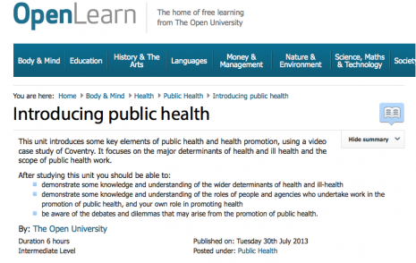 Introducing public health – online course