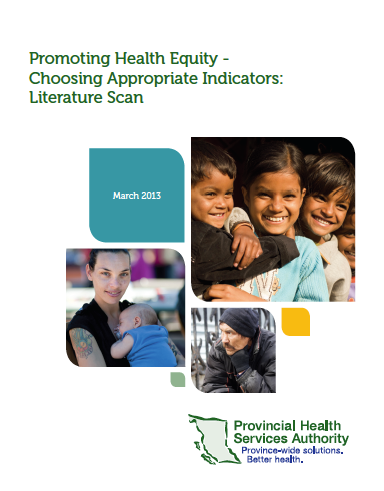 Promoting health equity - Choosing appropriate indicators: Literature scan