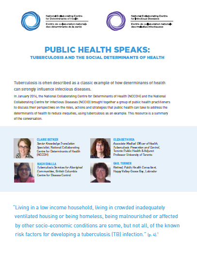 Public Health Speaks: Tuberculosis and the social determinants of health
