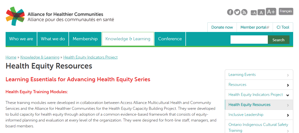 Learning Essentials for Advancing Health Equity series