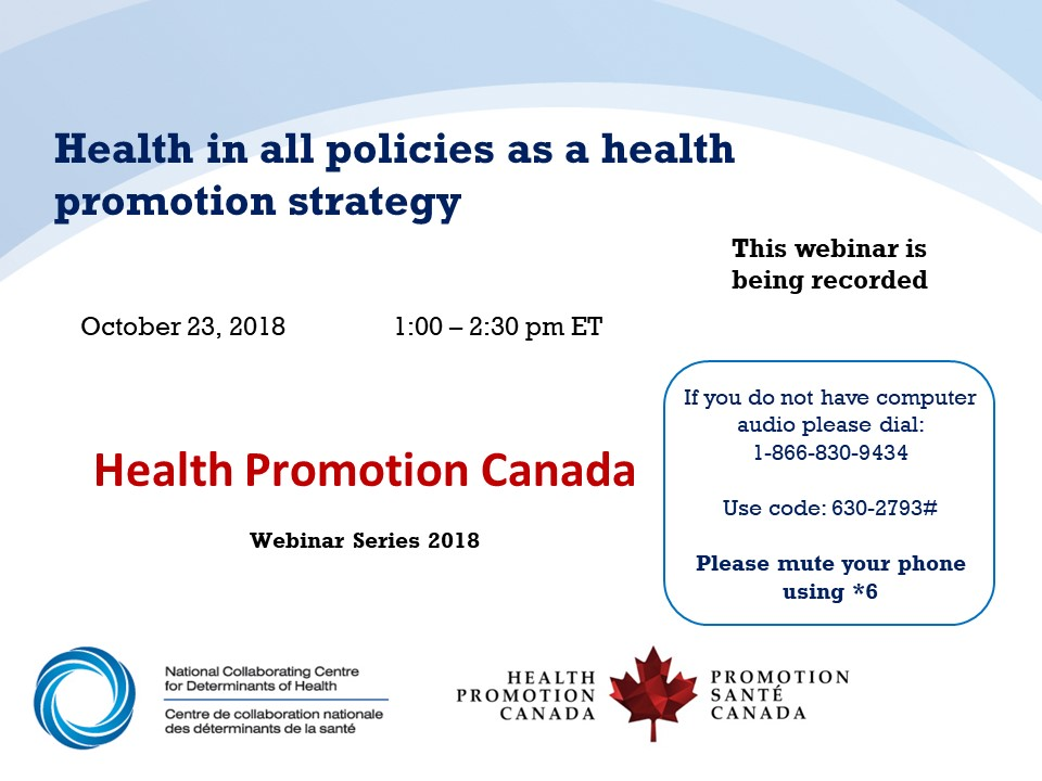 Webinar: Health in all policies as a health promotion strategy