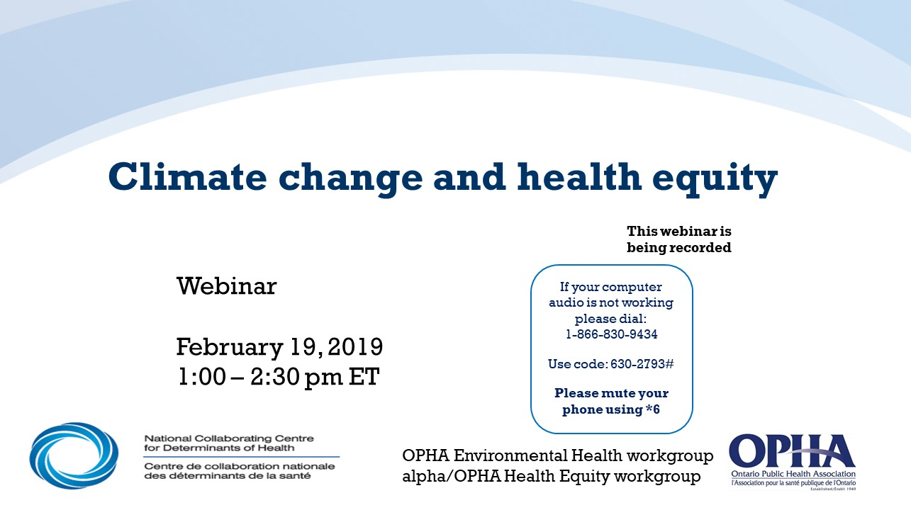 Webinaire du CCNDS : Climate change in health equity