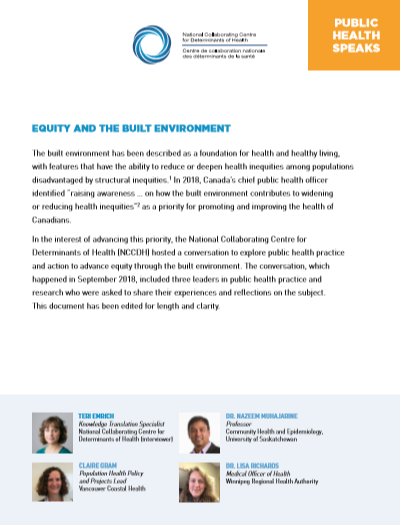Public Health Speaks: Equity and the built environment
