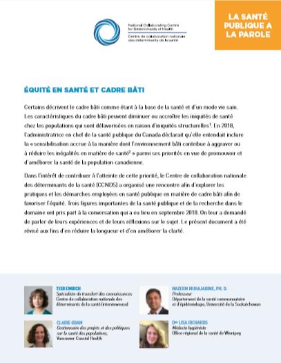 La santé publique à la parole : L'équité et le cadre bâti
