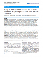 «Equity in public health standards: a qualitative document analysis of policies from two Canadian provinces»
