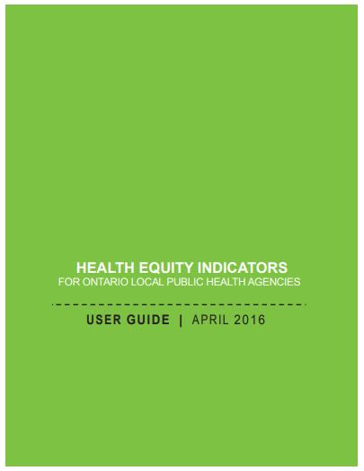 Indicateurs d'équité en santé pour les services de santé publique régionale de l'Ontario