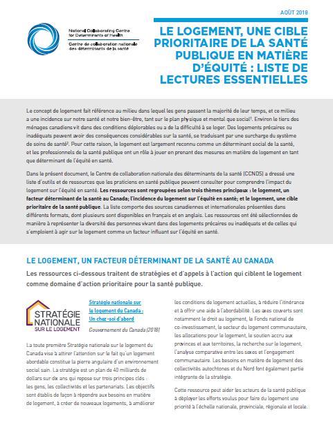 Le logement, une cible prioritaire de la santé publique en matière d'équité : liste de lectures essentielles
