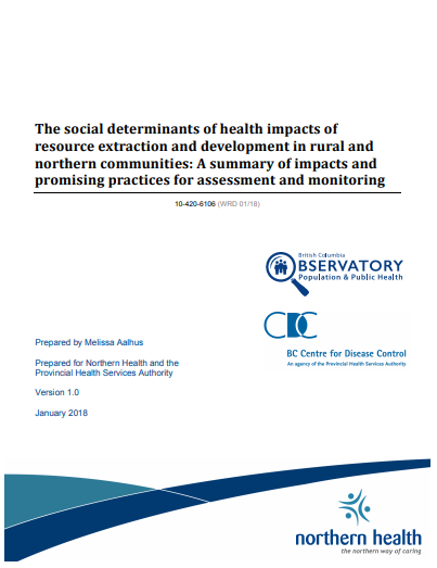 The SDH impacts of resource extraction and development in rural and northern communities
