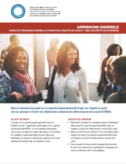 Projet sur la capacité organisationnelle d'agir sur l'équité en santé : un sommaire