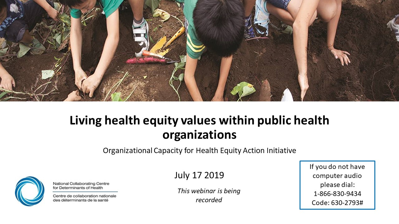 NCCDH Webinar: Living health equity values within public health organizations