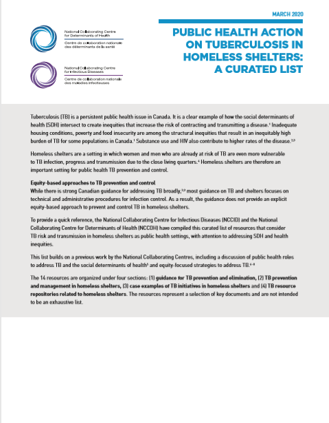 Public health action to address tuberculosis in homeless shelter settings: A curated list