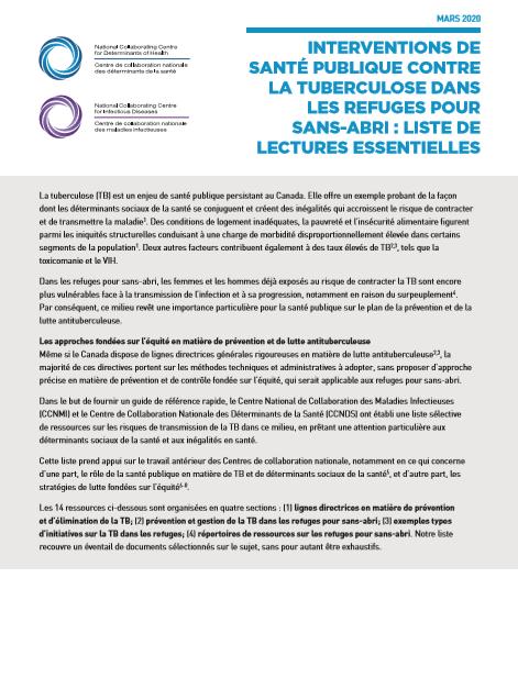 Interventions de santé publique contre la tuberculose dans les refuges pour sans-abri : liste de lectures essentielles