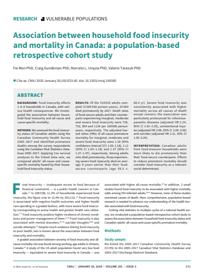 Association between household food insecurity and mortality in Canada: A population-based retrospect
