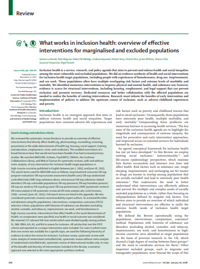 What works in inclusion health: Overview of effective interventions for marginalised and excluded populations