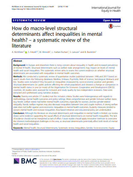 How do macro-level structural determinants affect inequalities in mental health? – A systematic review of the literature