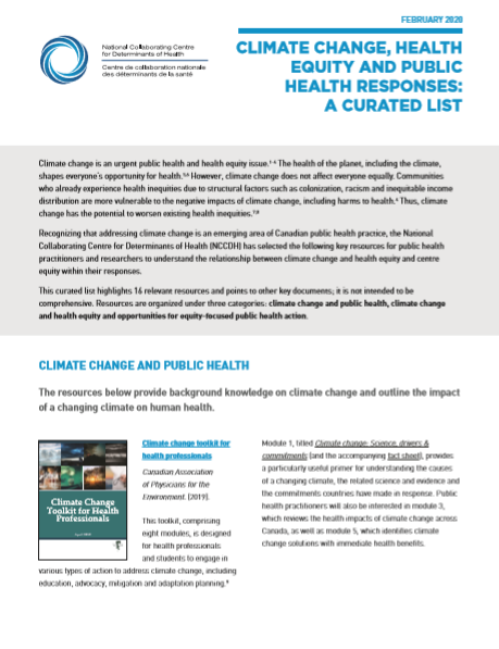 Climate change, health equity and public health responses: A curated list