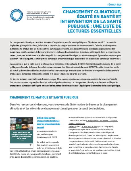 Changement climatique, équité en santé et intervention de la santé publique : une liste de lectures essentielles