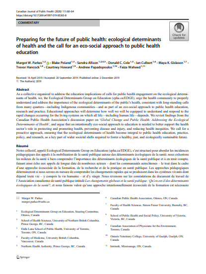 Preparing for the future of public health: Ecological determinants of health and the call for an eco-social approach to public health education