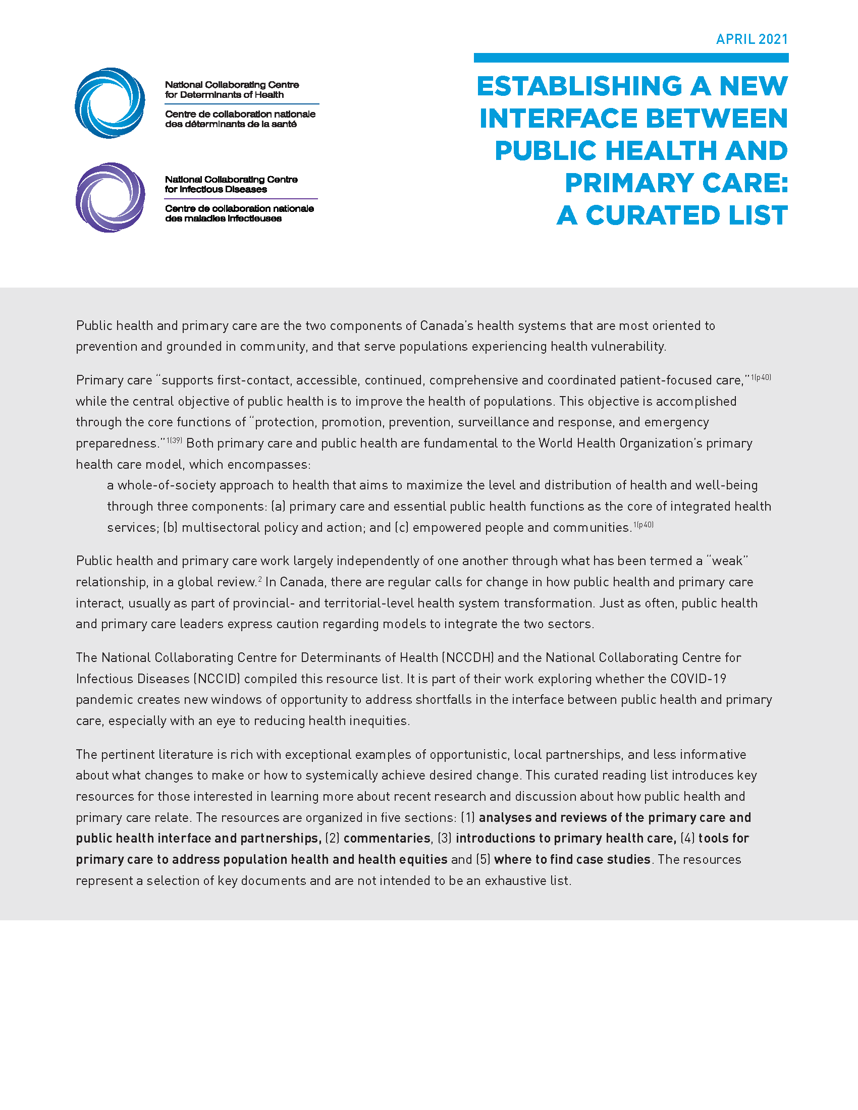 Establishing a new interface between public health and primary care: A curated list