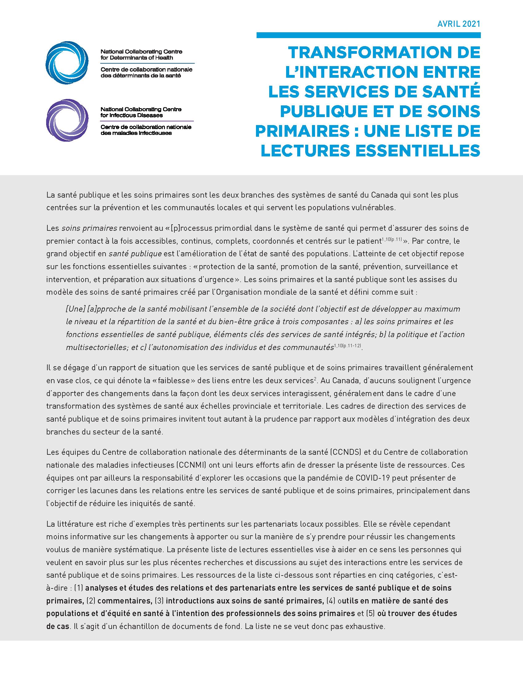 Transformation de l'interaction entre les services de santé publique et de soins primaires : une liste de lectures essentielles