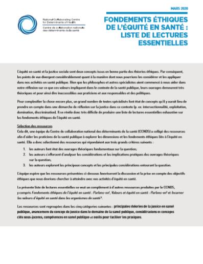 Fondements éthiques de l'équité en santé : liste de lectures essentielles