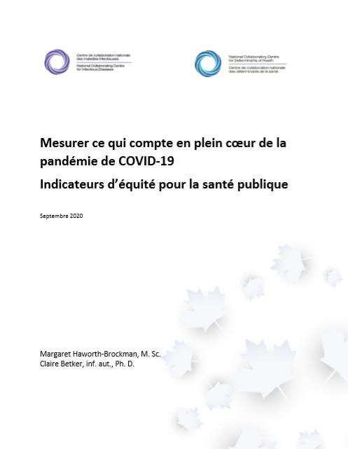 Mesurer ce qui compte en plein cœur de la pandémie de COVID-19 – Indicateurs d'équité pour la santé publique