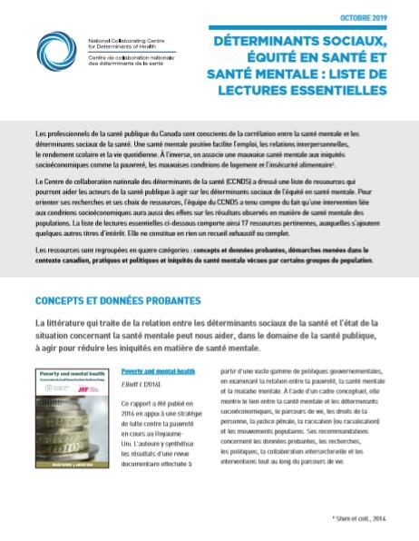 Déterminants sociaux, équité en santé et santé mentale : liste de lectures essentielles