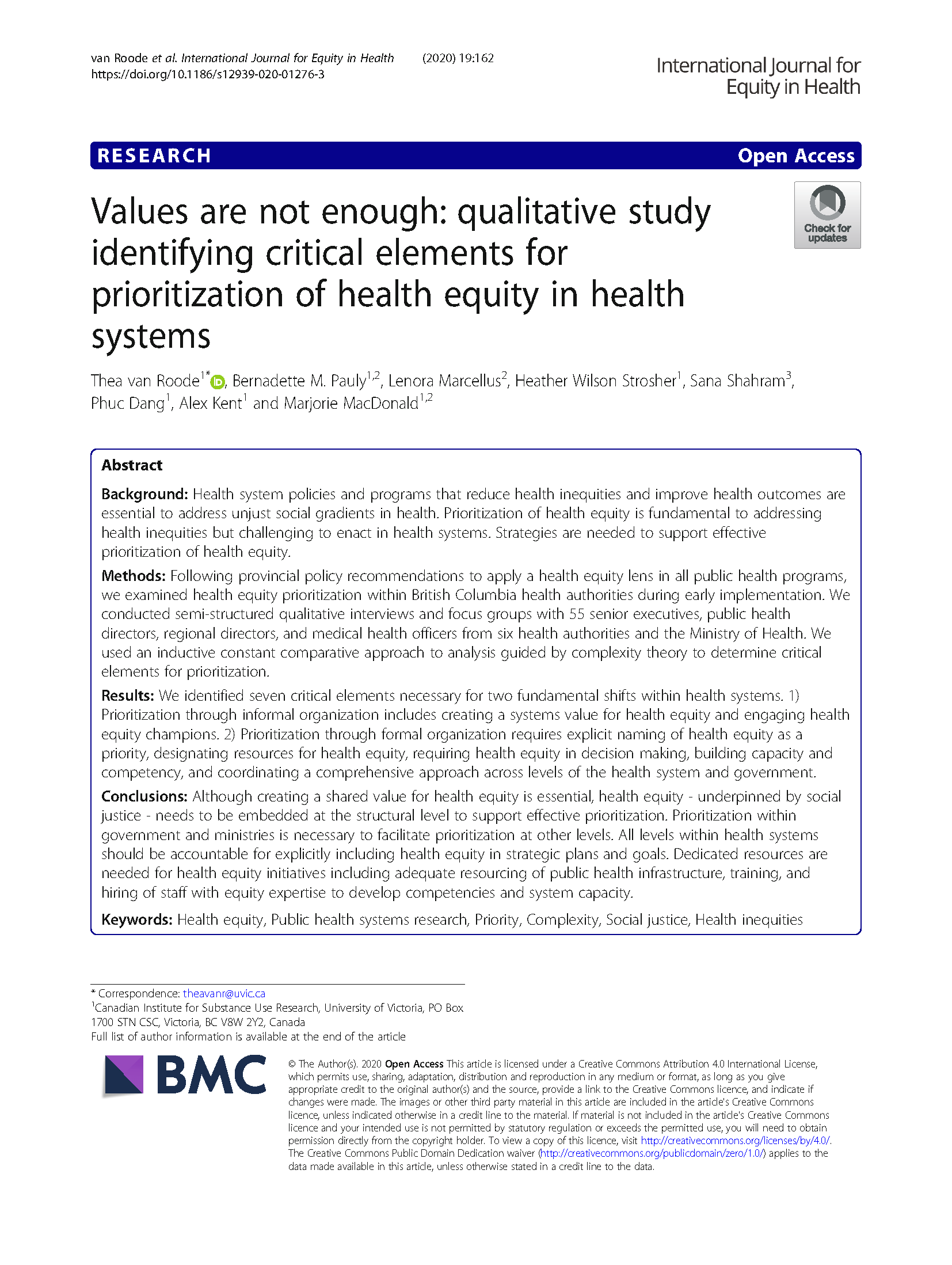 Values are not enough: Qualitative study identifying critical elements for prioritization of health equity in health systems