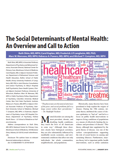 The social determinants of mental health: An overview and call to action