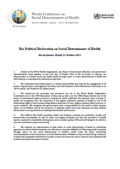 Rio Political Declaration on Social Determinants of Health