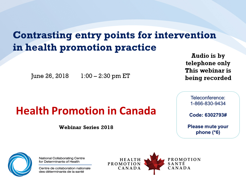 Webinar recording: Contrasting entry points for intervention in health promotion practice