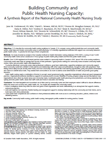 Building community and public health nursing capacity: A synthesis report of the national community health nursing study