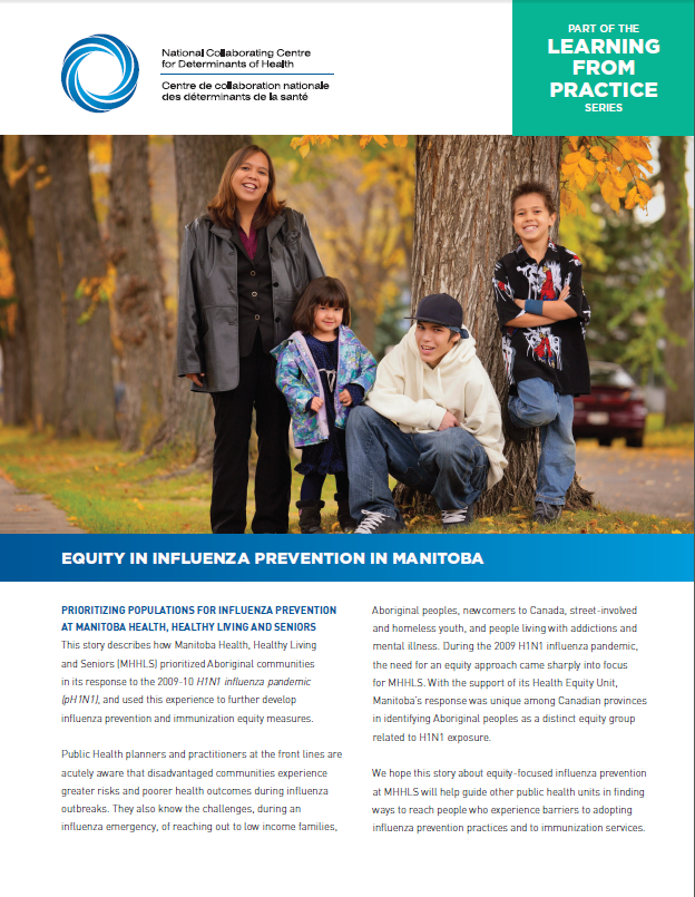 Learning from practice:  Equity in influenza prevention in Manitoba
